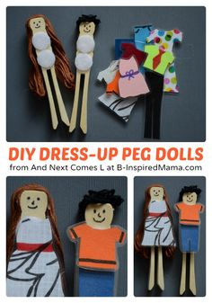 Simple DIY Toys - Dress Up Peg Dolls at B-Inspired Mama - #kids #diy #kbn #binspiredmama
