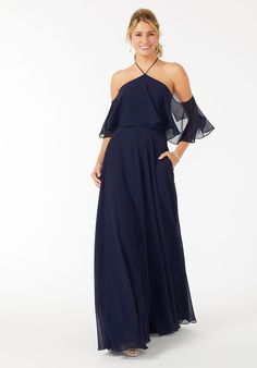 Halter Neck Cold Shoulder Bridesmaid Dress Designer Bridesmaid Dresses, Bridesmaid Dress Colors, Bridesmaids, Chelsea Wedding, Next Fashion, Halter Neck, Sleeve Styles, Cold Shoulder Dress, Chiffon