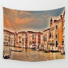 15% Off + Free Shipping on Tapestries Today! #Venice, #Italy, #canal -Available in three distinct sizes, our Wall Tapestries are made of 100% lightweight polyester with hand-sewn finished edges. Featuring vivid colors and crisp lines, these highly unique and versatile tapestries are durable enough for both indoor and outdoor use. Machine washable for outdoor enthusiasts, with cold water on gentle cycle using mild detergent - tumble dry with low heat.
