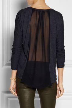CLU Silk chiffon-paneled jersey top NET-A-PORTER.COM