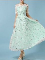 Courtlike V Neck Dacron Pure Maxi-dress