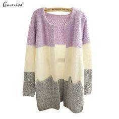 Gamiss Fall Winter Cardigan Sweater Knitted Patchwork O-Neck Fashion Leisure Cardigan Women Tricotado Cardigan Crochet Sweater