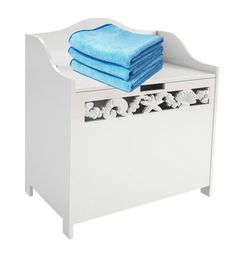 Laundry Box Wooden White Bin Storage Basket Bathroom Cabinet Sea Shell Details