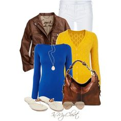 """""""Blues, Yellows and Browns"""" by in-my-closet on Polyvore"""