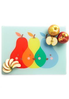 Pear of Friends Cutting Board - Red, Orange, Yellow, Green, Blue, Novelty Print, Fruits    $30