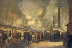 Charing Cross Station: Detraining Wounded by the British Red Cross Society and Order of St John, by J. Hodgson Lobley
