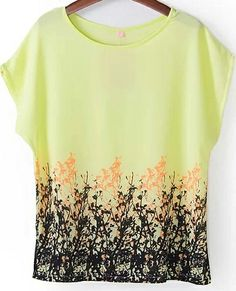 Yellow Short Sleeve Floral Loose Chiffon Blouse 12.67