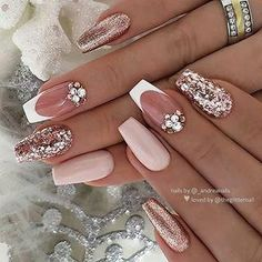 ✨ Ivory-Nude, French with Crystals and Rosegold Glitters on Coffin Nails ? … ✨ Ivory-Nude, French with Crystals and Rosegold Glitters on Coffin Nails ? Mauve Nails, Rose Gold Nails, Pink Nails, Ivory Nails, Perfect Nails, Gorgeous Nails, Pretty Nails, Bridal Nails, Wedding Nails