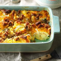 Italian Sausage Egg Bake Recipe -This hearty entree warms up any breakfast or brunch menu with its herb-seasoned flavor. —Darlene Markham, Rochester, New York