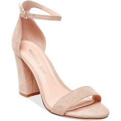 Madden Girl Bella Two-Piece Block Heel Sandals ($49) ❤ liked on Polyvore featuring shoes, sandals, blush, ankle strap heel sandals, ankle strap sandals, special occasion sandals, ankle strap shoes and evening sandals