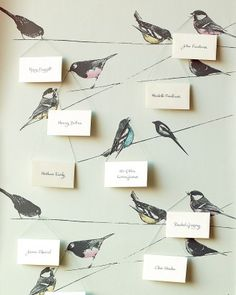 Playful motifs lead to a nest of interactive ideas, including an escort card display that looks lovely