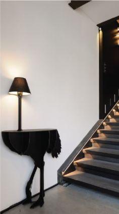 DIVA LUCIA Black Ostrich console by ibride. #home #decoration #ostrich #ibride #design #animal #furniture #interior #deco #console #black(photo I LIGHT YOU)