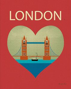 London Bridge and Heart Travel Poster Print Art by loosepetals