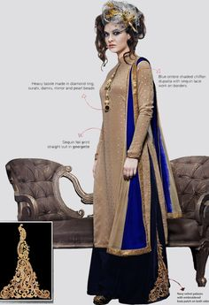Beige Georgette Designer Salwar Kameez With Sequins Work..@ fashionsbyindia.com #designs #indian #fashion #womens #style #cloths #fashion #stylish #casual #fashionsbyindia #punjabi #suits #salwar #kameez #palazzo