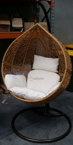 Outdoor-Swing-Hanging-Egg-Pod-Chair-Light-Brown-with-Beige-Cushions