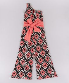 Loving this Coral & Black Geometric Asymmetrical Jumpsuit - Toddler & Girls on #zulily! #zulilyfinds