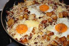 Gebakken aardappels met spek en eieren