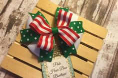 Christmas hair bow red white and green by PinkHairBowBoutique Christmas Hair Bows, Pink Hair, Red And White, Gift Wrapping, Unique Jewelry, Handmade Gifts, Green, Vintage, Etsy