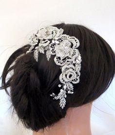 Bridal headpiece Rhinestone Wedding headpiece by TheExquisiteBride