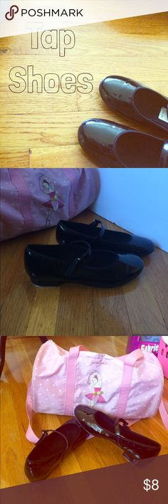Tap Shoes Used Black Patent Leather w/Velcro closing. There are scuff marks (shows wear)on both shoes. Taps are in very good condition. A lot of life left in these shoes. Good for practice. Please ask questions... Shoes