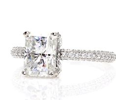 Platinum Radiant Moissanite Engagement Ring Pave by RareEarth, $3499.04