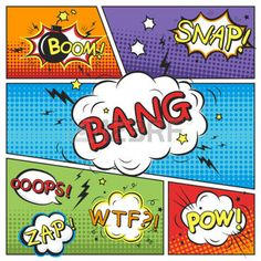 comic strip template: attractive comic sound effect set isolated on colorful comic strip template