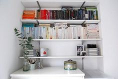 I'm really into colour coding books at the moment, I think it makes more of a feature out of them. Bohemian Interior, Interior Styling, Interior Decorating, Decorating Ideas, Hanging File Folders, Living Room Shelves, Home Office Space, Bohemian Living, Living Spaces