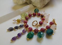 Multi Gemstone Dangling Crystal Bracelet with by MaNithyaSudevi