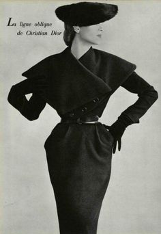 Christian Dior Ligne Oblique dress | silhouette emphasizes waist, shoulders, hips; creates hourglass