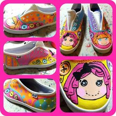 Girl's Custom Painted Tennis Shoes LALALOOPSY by paintmama on Etsy, $75.00