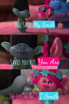 """""""You said My Smile Saves you but You Are The reason why I Smile"""" ~Mikhaela Lazaro Poppy And Branch, Troll Party, Picky Eaters, Disney Stuff, I Smile, Save Yourself, Dreamworks, Animal Crossing, Poppies"""