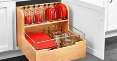Food Storage Pull Out Drawer restore some sanity with this unique storage solution. The food storage container is made with a sturdy dovetail construction, stylish chrome accent rails and blur motion soft-close slides. Take back your cabinet space, Container Organization, Food Storage Containers, Kitchen Organization, Kitchen Storage, Kitchen Decor, Recycling Containers, Organization Ideas, Kitchen Layout, Diy Kitchen