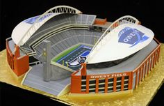CenturyLink Field in Seattle recreated in fondant icing and cake as a Football Stadium Wedding Cake.  That's a Football Fan!  #footballwedding