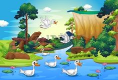 Illustration of a group of ducks at the river in the forest