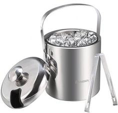Ice Buckets with Stainless Steel Ice Tongs,Double Wall Ice Bucket with Lid, Taekook, Drink Bucket, Bucket With Lid, Ice Tongs, Chrome Colour, Stainless Steel Types, Wine Chiller, Chrome Finish, Household Items