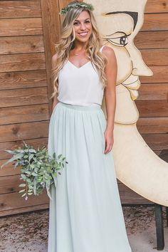 Any skirt makes for a versatile bridesmaid outfit look; this flowy chiffon skirt has pockets to carry all your bridesmaid essentials. Elevate your look with our Bandie sequin top or keep it simple with the Heidi chiffon tank.