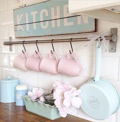 Image via We Heart It https://weheartit.com/entry/170295392/via/25882320 #cup #Dream #kitchen #pastel #pink