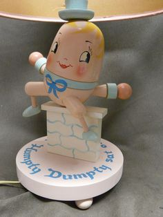 Vintage Humpty Dumpty Lamp with Original Shade from happyhoundantiques on Ruby Lane