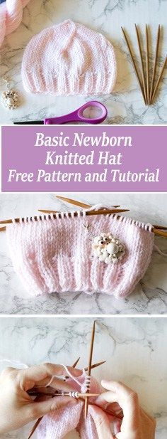 FREE Basic Newborn Knitted Hat Pattern and video tutorial. Beginner friendly newborn hat pattern. Includes written pattern and video tutorial.