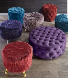 Now Trending: jewel tones bring an air of sophistication and extravagance. Set a dramatic stage starring our new fiery garnet, amethyst and sapphire ottomans for cozy decadence. More from this trend at the link in our bio! Tire Furniture, Home Decor Furniture, Home Furnishings, Furniture Ideas, Diy Home Crafts, Diy Home Decor, Living Room Sofa Design, Cute Room Decor, My Room
