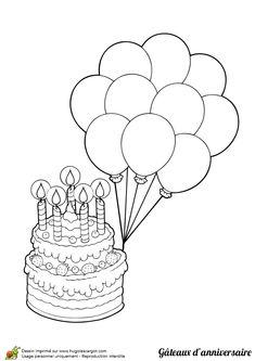 Le gâteau d'anniversaire et les ballons, à colorier