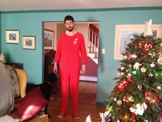 My six foot seven boyfriend in his foxy footie pajamas I gifted to him on christmas.