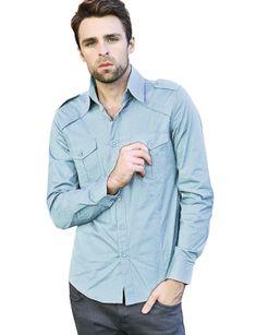 $27.99 Mens Casual Shoulder Strap Pocket Slim Dress Shirts (CJL)