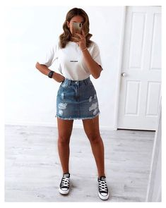 Casual School Outfits, Trendy Summer Outfits, Cute Spring Outfits, Cute Teen Outfits, Teen Fashion Outfits, Mode Outfits, Denim Fashion, Look Fashion, Pretty Outfits