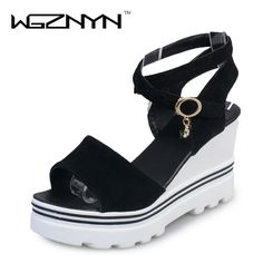 WGZNYN Platform Wedge Sandals 2017 Women Medium Heel Shoes High Gladiator Sandals Women Faux Suede Shoes FC0402 #Affiliate