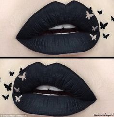Black butterflies: Many chose to create a silhouette look with matte black lips