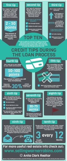 Top 10 Credit Tips During the Loan Process Infographic . - Home Buying & Selling - Loans Mortgage Humor, Mortgage Loan Officer, Mortgage Tips, Mortgage Calculator, Home Buying Checklist, Home Buying Tips, Home Buying Process, Buying First Home, Mortgage Loan Originator