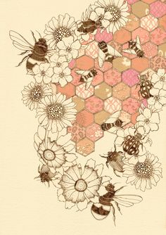 "A Quilt Of Honey Bees 12"" x 16"" Print £25.00"