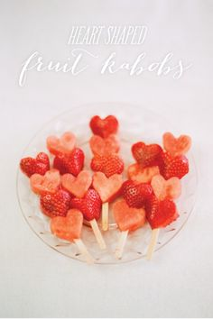 Heart shaped fruit kabobs.