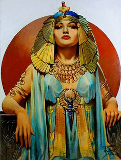 Pin Up Girls of History, Cleopatra. Modeled on Dorothy Lamour. Oil on Illustration Board. Cover of The American Weekly, Henry Clive Egyptian Queen, Egyptian Goddess, Egyptian Art, Ancient Egyptian Women, Ancient Egypt Fashion, Egyptian Beauty, Egyptian Mythology, Art Antique, Vintage Art